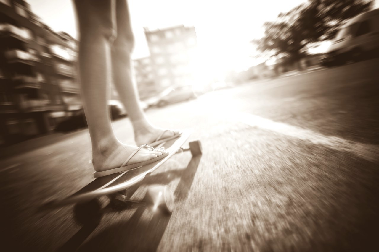 Crazy girl riding her longboard picjumbo com